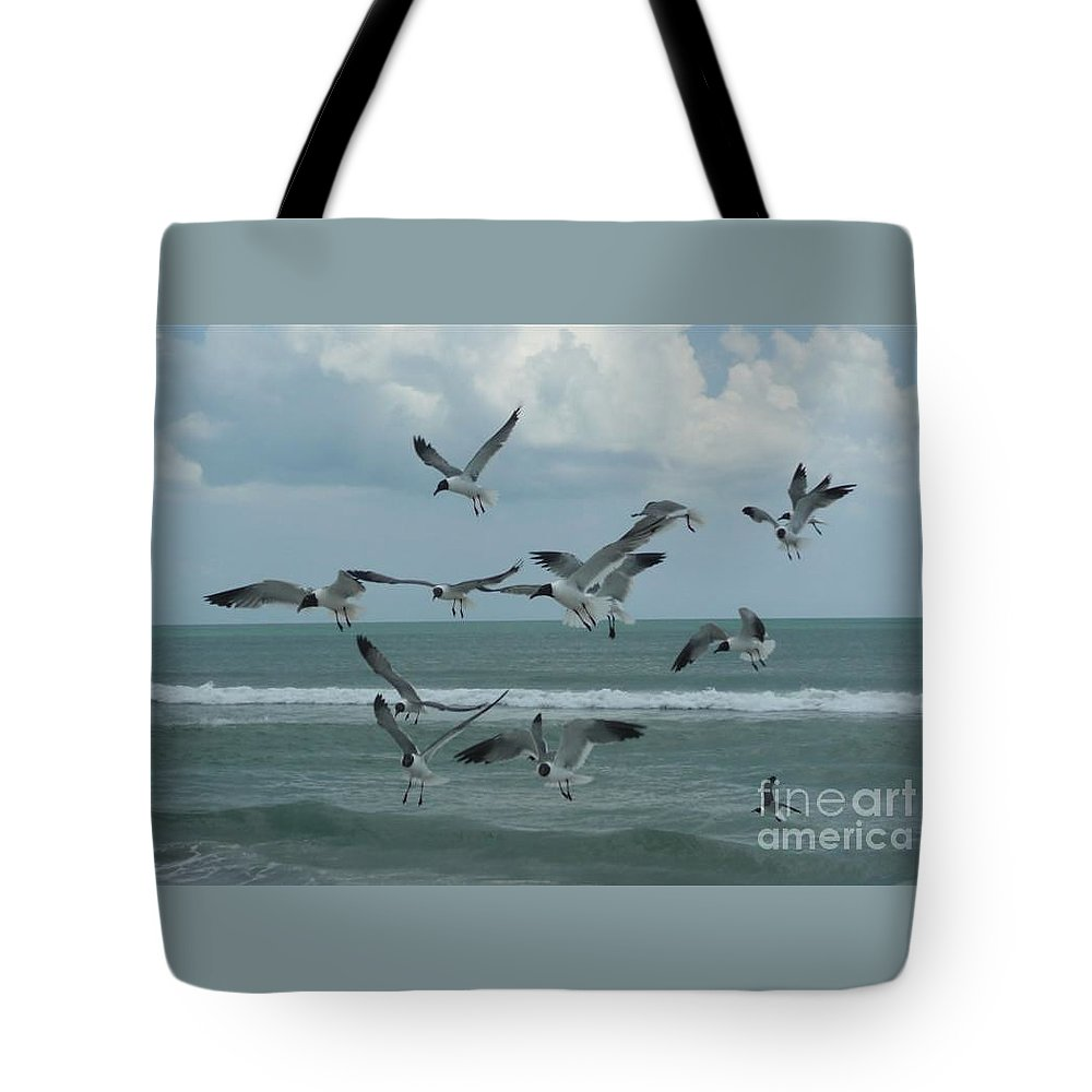 Birds Tote Bag featuring the photograph Birds In Flight by Barb Montanye Meseroll