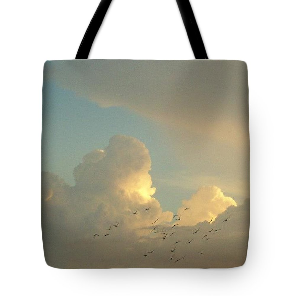Birds Tote Bag featuring the photograph Birds In Flight by Kathleen Heese