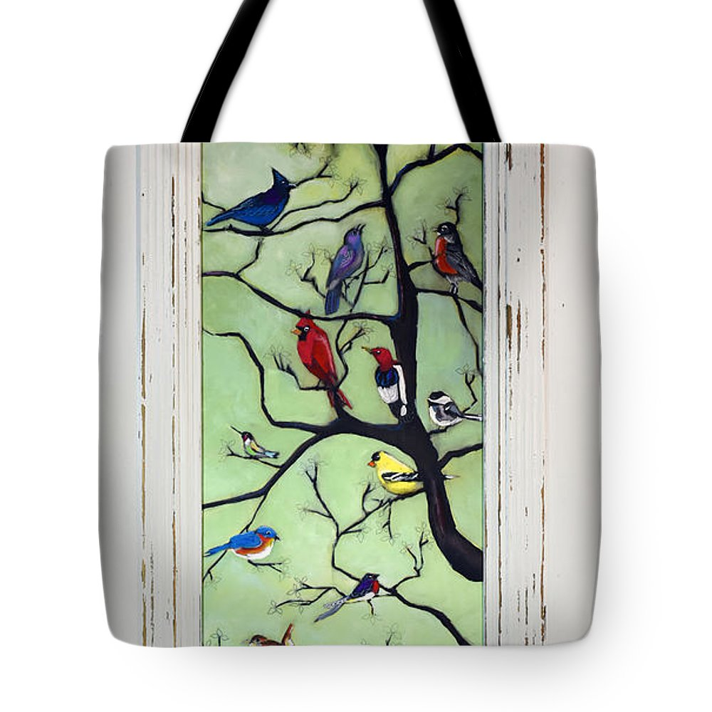 Birds Tote Bag featuring the painting Birds In The Tree Framed by David Hinds