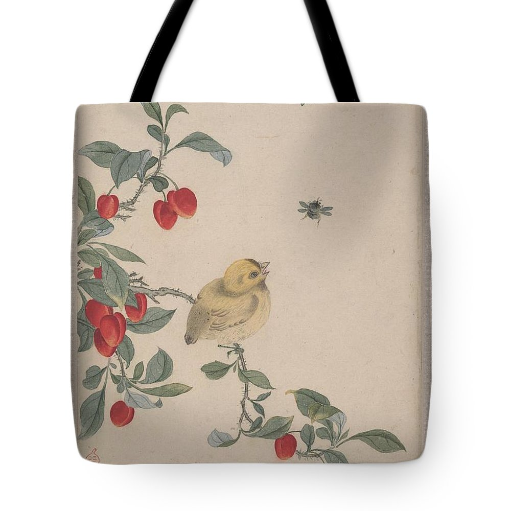 Yi Zhai Birds Insects And Flowers Tote Bag featuring the painting Birds Insects And Flowers by Yi Zhai