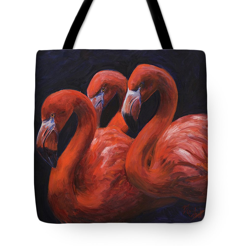 Flamingos Tote Bag featuring the painting Birds Of A Feather by Billie Colson