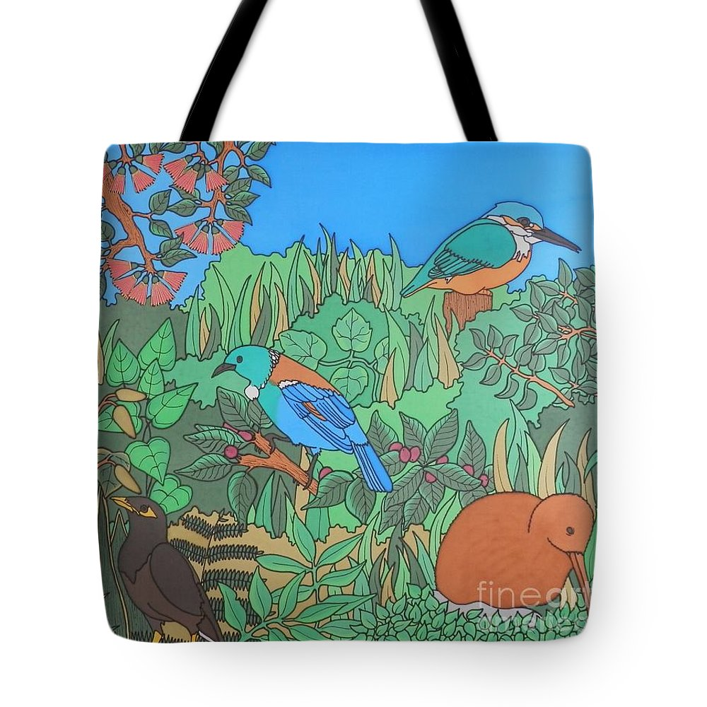 New Zealand Tote Bag featuring the painting Birds Of A Feather by Joanne Oram