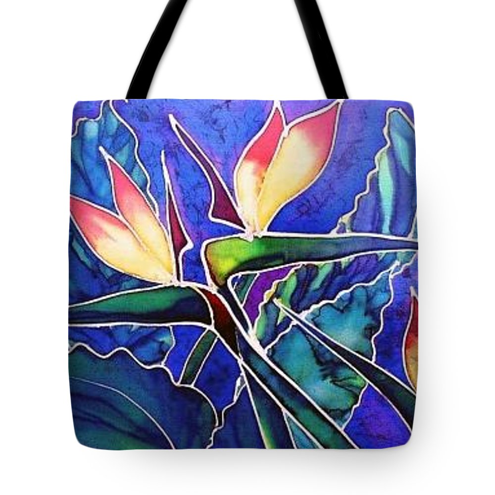 Silk Painting Tote Bag featuring the painting Birds Of Paradise II by Francine Dufour Jones