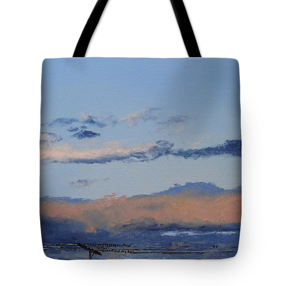 Landscape Tote Bag featuring the painting Birds On A Wire by Barbara Andolsek