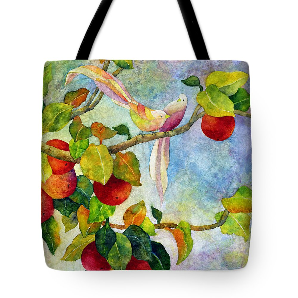 Birds Tote Bag featuring the painting Birds on Apple Tree by Hailey E Herrera
