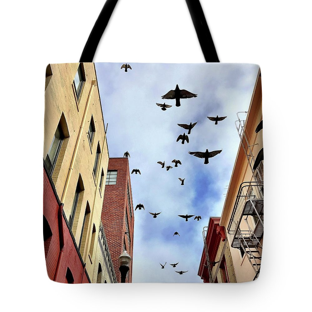 Tote Bag featuring the photograph Birds Overhead by Julie Gebhardt