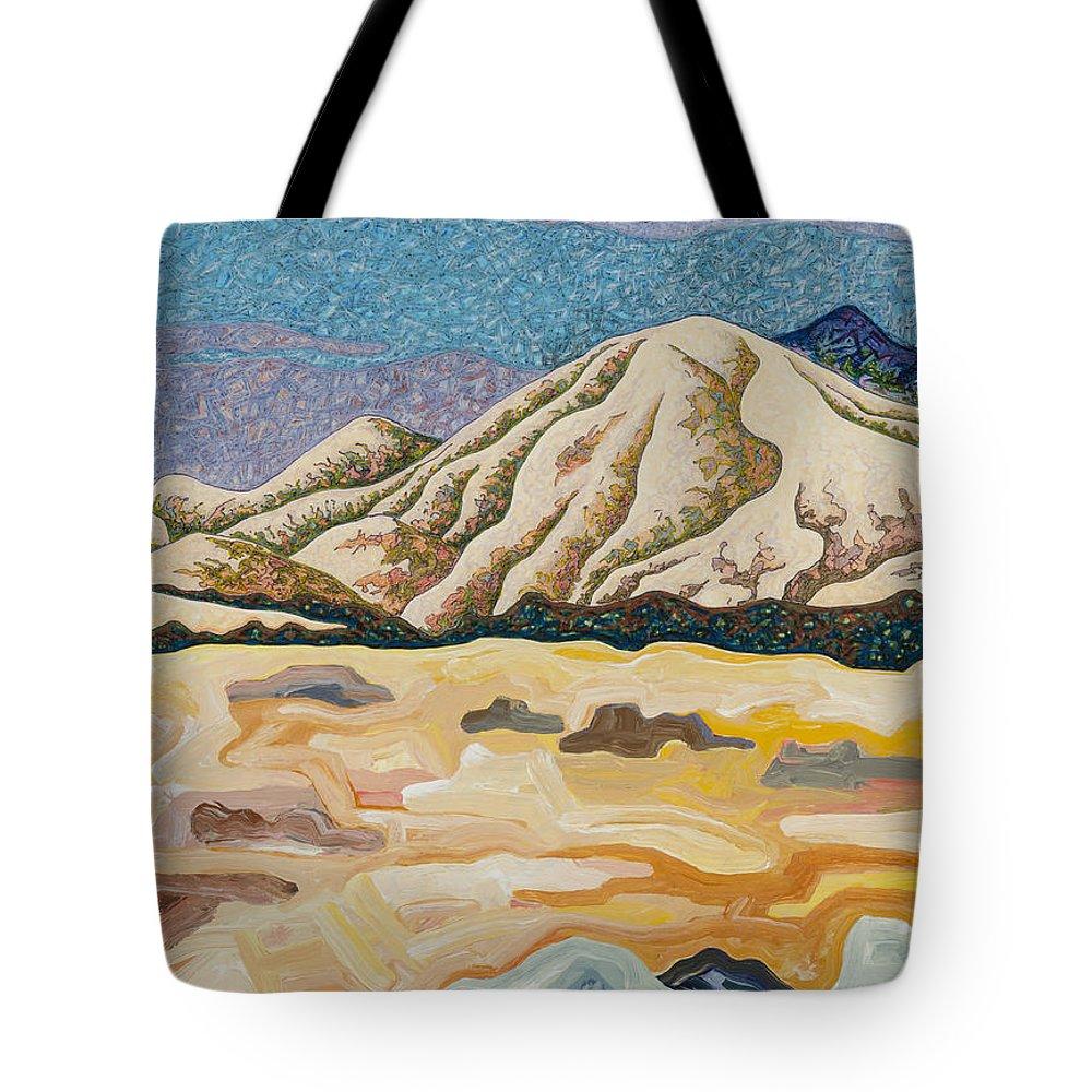 Birdseye Landscape #5 Tote Bag featuring the mixed media Birdseye Landscape #5 by Dale Beckman