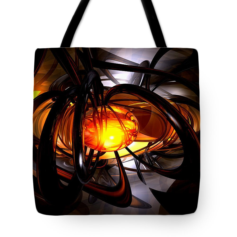 3d Tote Bag featuring the digital art Birth Of A Sun Abstract by Alexander Butler