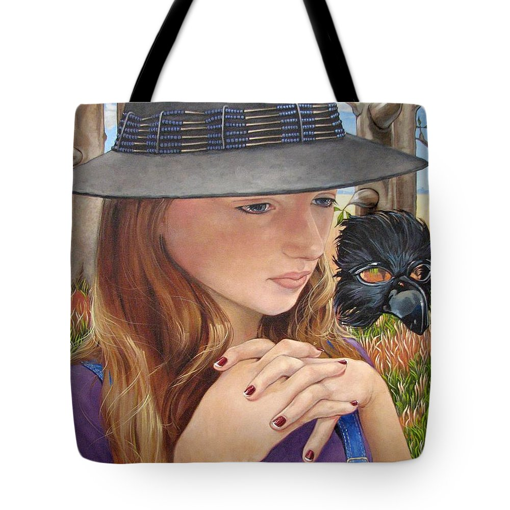 Girl Tote Bag featuring the painting Birth Of The Scheme by Jerrold Carton