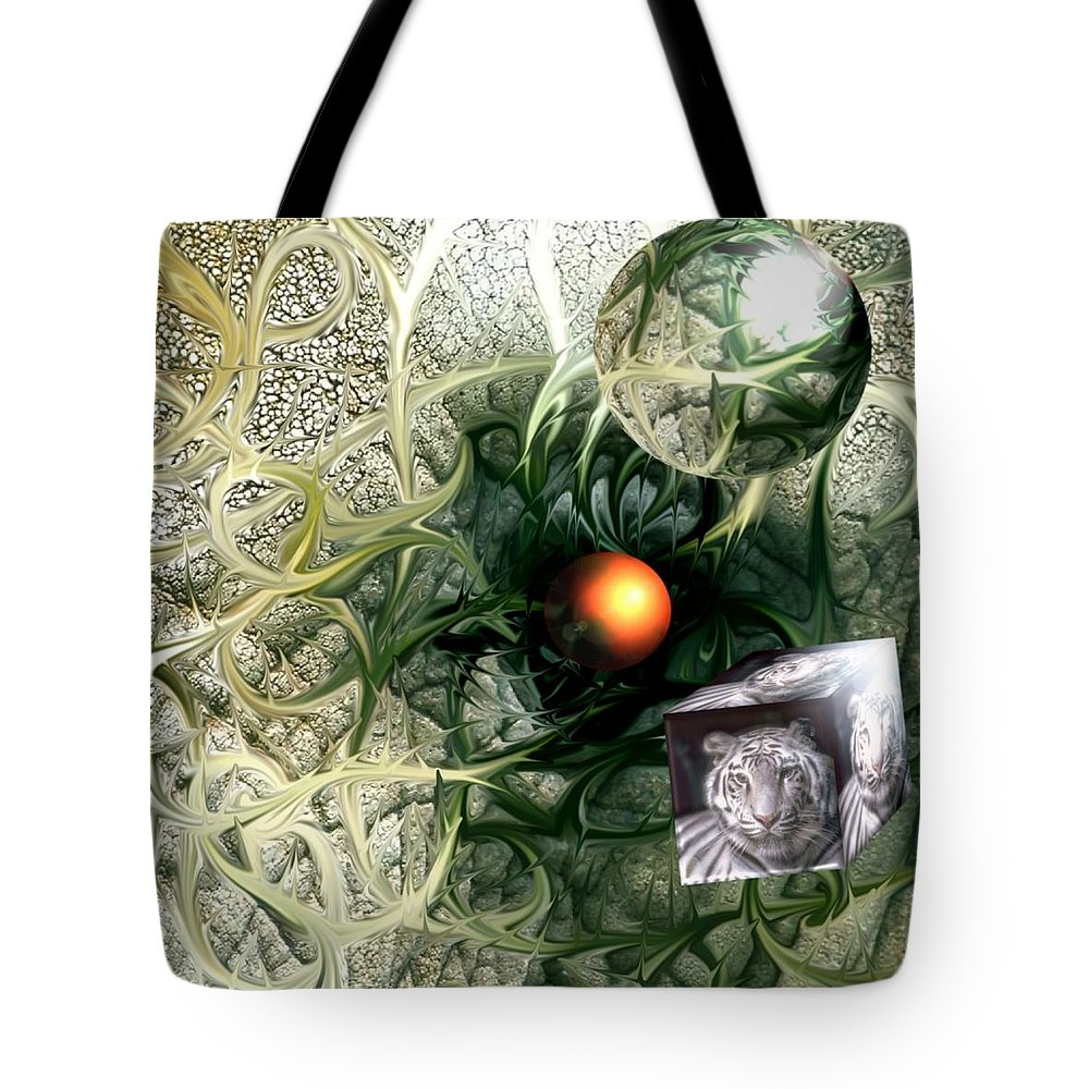 Abstract Nature Red Birth Tiger Spheres Wire Tote Bag featuring the digital art Birth by Veronica Jackson