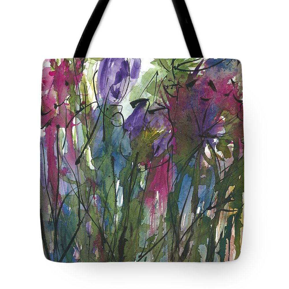Abstract Floral Painting Tote Bag featuring the painting Birthday Bouquet by Garima Srivastava