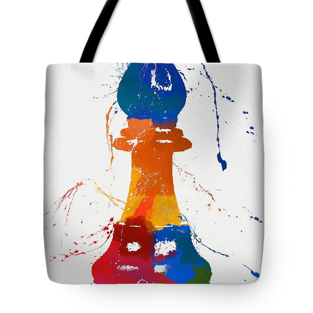 Bishops Tote Bag featuring the painting Bishop Chess Piece Paint Splatter by Dan Sproul