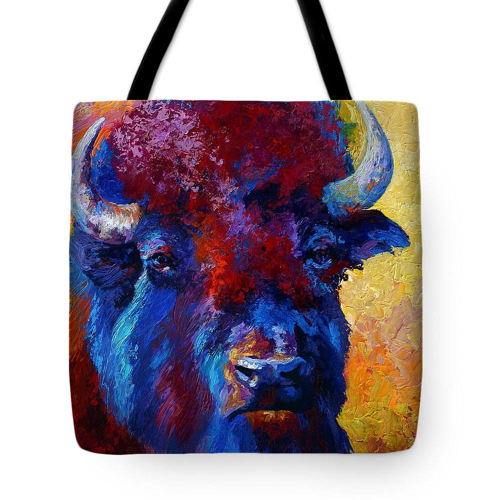 Wildlife Tote Bag featuring the painting Bison Boss by Marion Rose