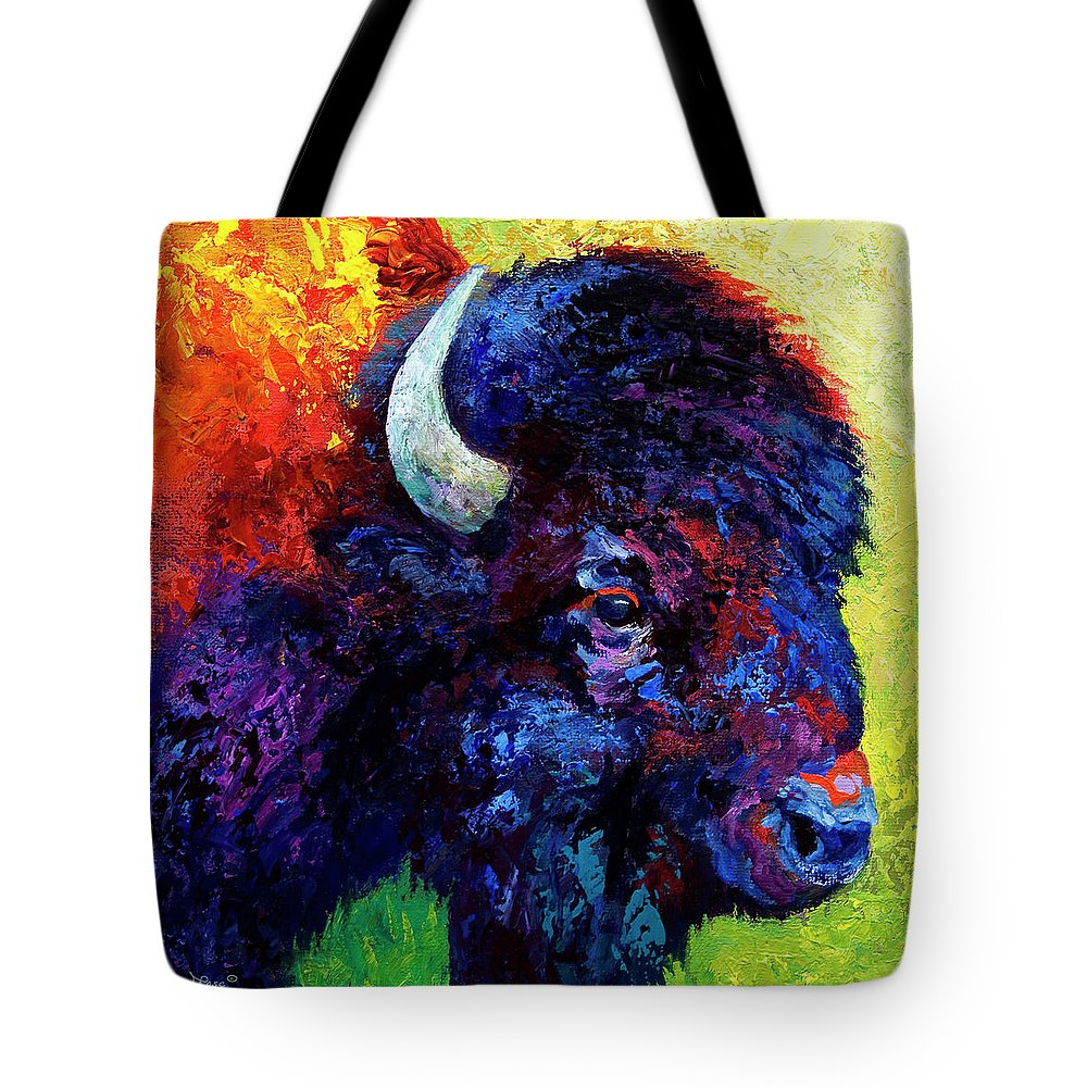 Bison Tote Bag featuring the painting Bison Head Color Study IIi by Marion Rose