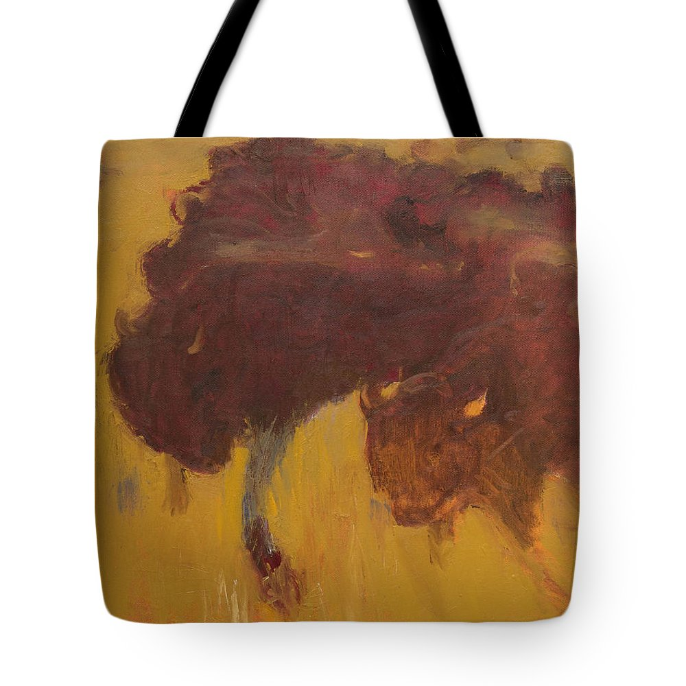 Bison Tote Bag featuring the painting Bison Herd by Craig Newland