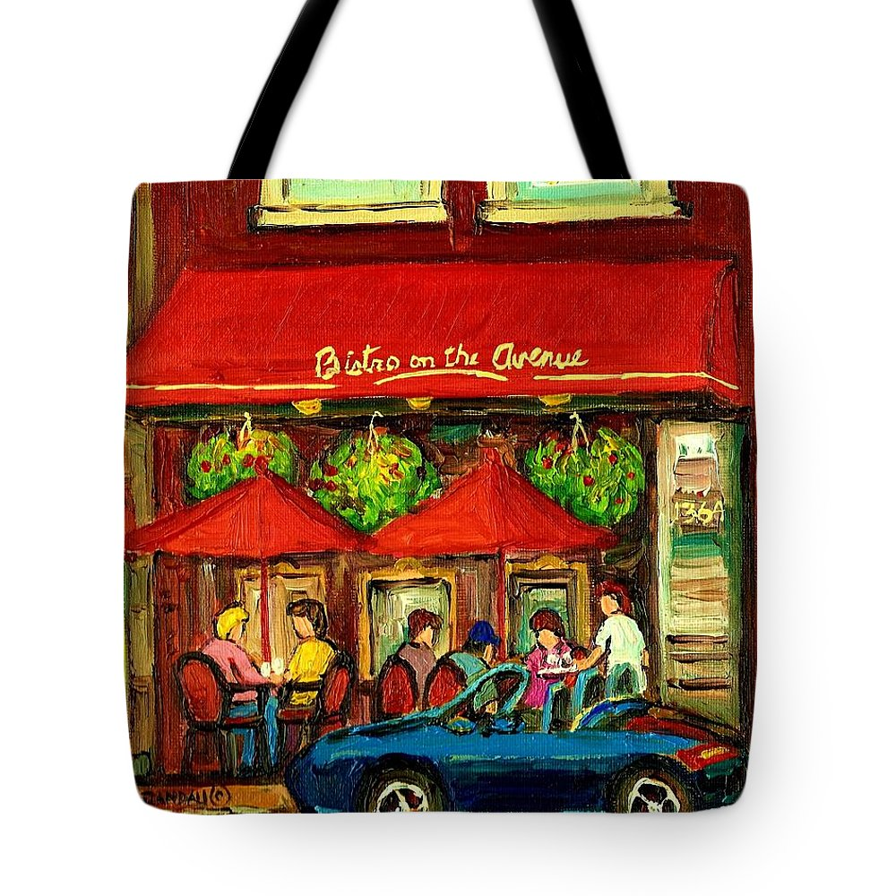 Bistro On Greene Avenue Tote Bag featuring the painting Bistro On Greene Avenue In Montreal by Carole Spandau