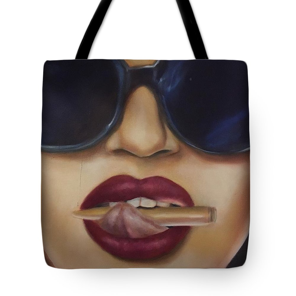Lips Tote Bag featuring the painting Bite The Bullet by Tanya Kivi
