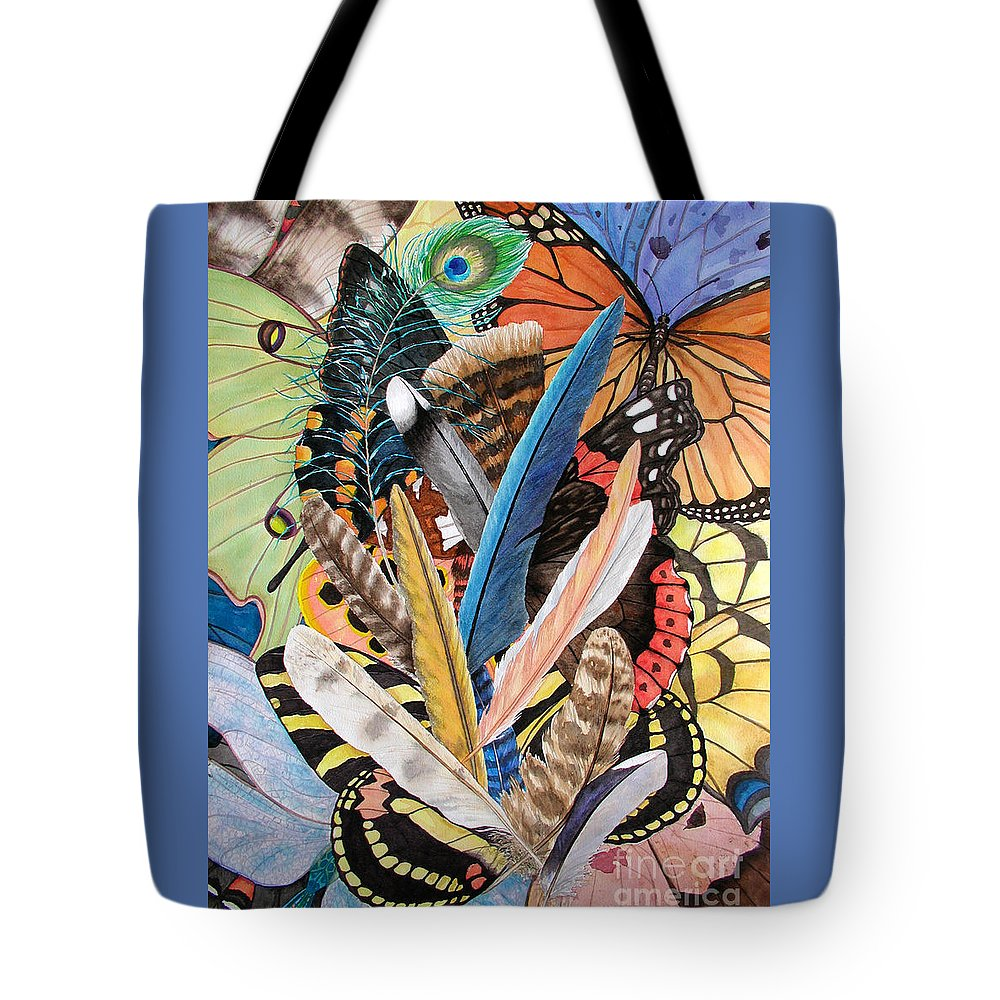 Feathers Tote Bag featuring the painting Bits Of Flight by Lucy Arnold