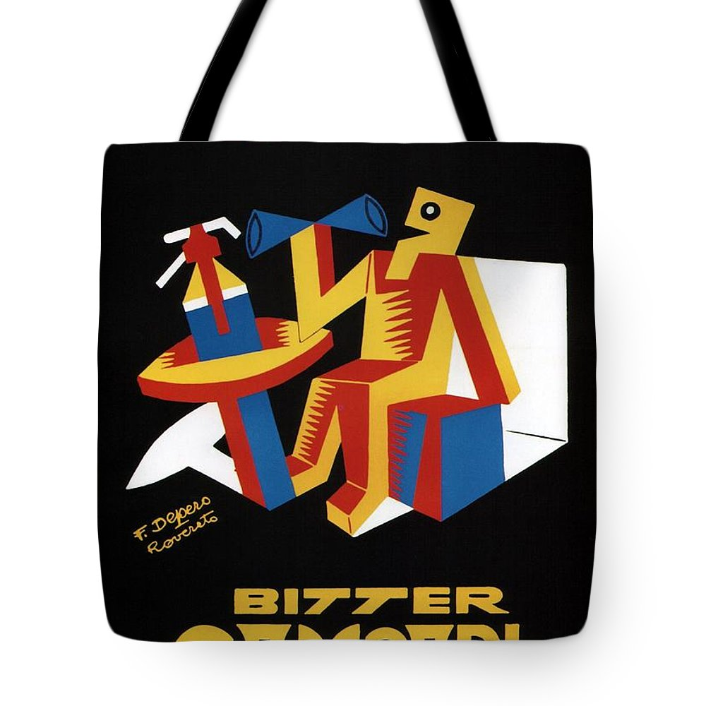 Vintage Tote Bag featuring the mixed media Bitter Campari - Aperitivo - Vintage Beer Advertising Poster by Studio Grafiikka