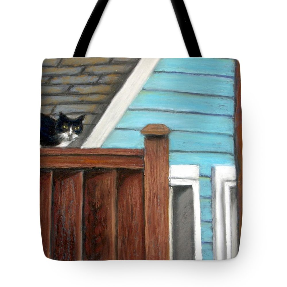Cat Tote Bag featuring the painting Black Alley Cat by Minaz Jantz