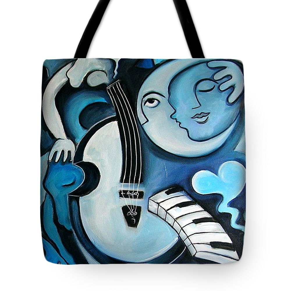 Abstract Tote Bag featuring the painting Black and Bleu by Valerie Vescovi