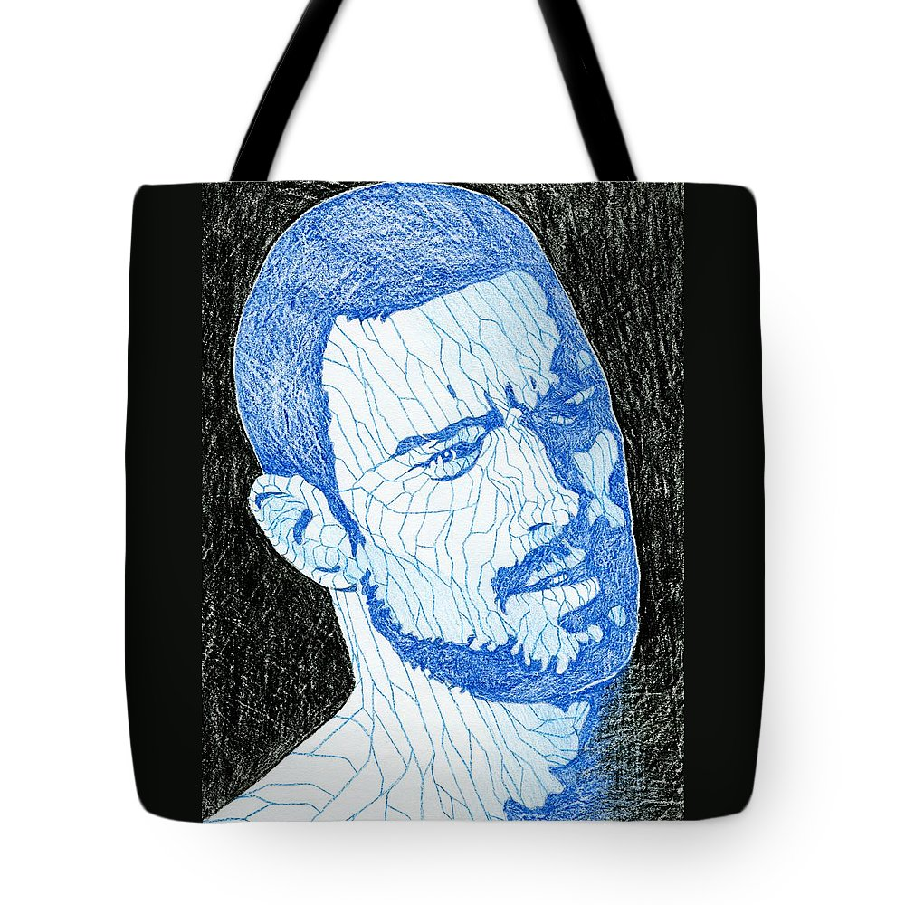 Gay Tote Bag featuring the drawing Black And Blue Man Portrait by Anti Quos