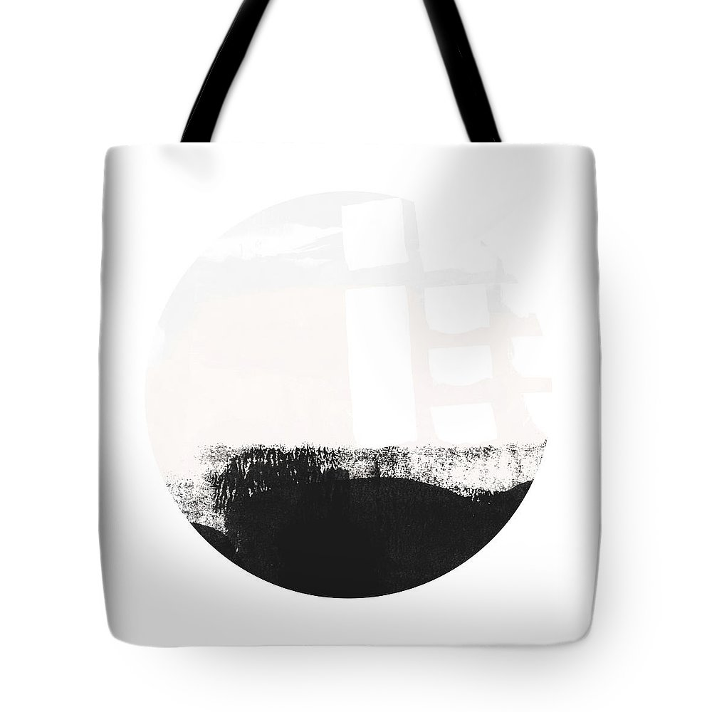 Modern Tote Bag featuring the painting Black and Blush Abstract Circle 1-Art by Linda Woods by Linda Woods