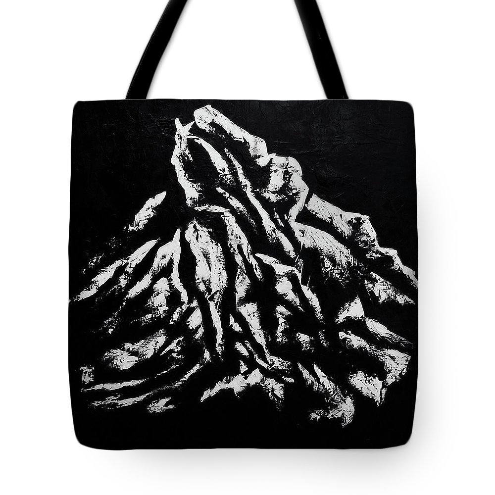 Tote Bag featuring the painting Black and White 1 by Ara Elena