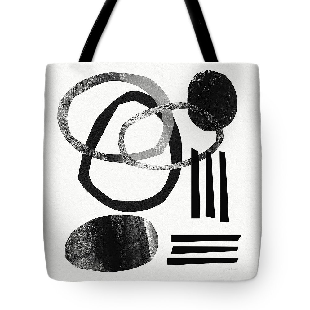 Black And White Abstract Tote Bag featuring the mixed media Black and White- Abstract Art by Linda Woods