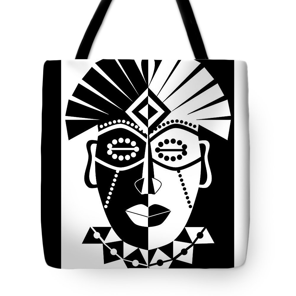 b385d77aaf African Tote Bag featuring the digital art Black And White African Mask by  Karolina Perlinska