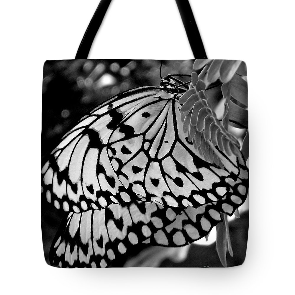 Photograph Tote Bag featuring the photograph Black And White Butterfly by Shelley Jones