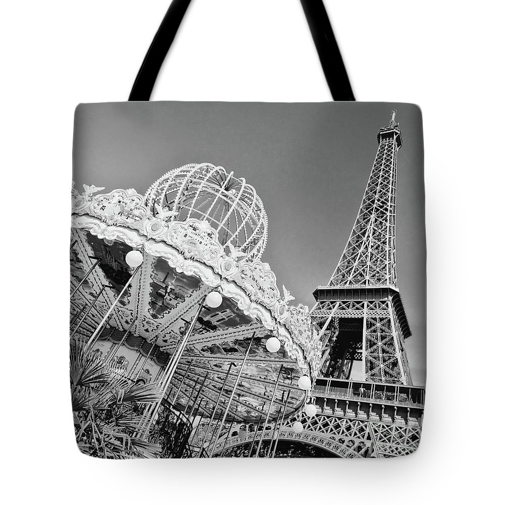Paris Tote Bag featuring the photograph Black And White Carousel by Delphimages Photo Creations