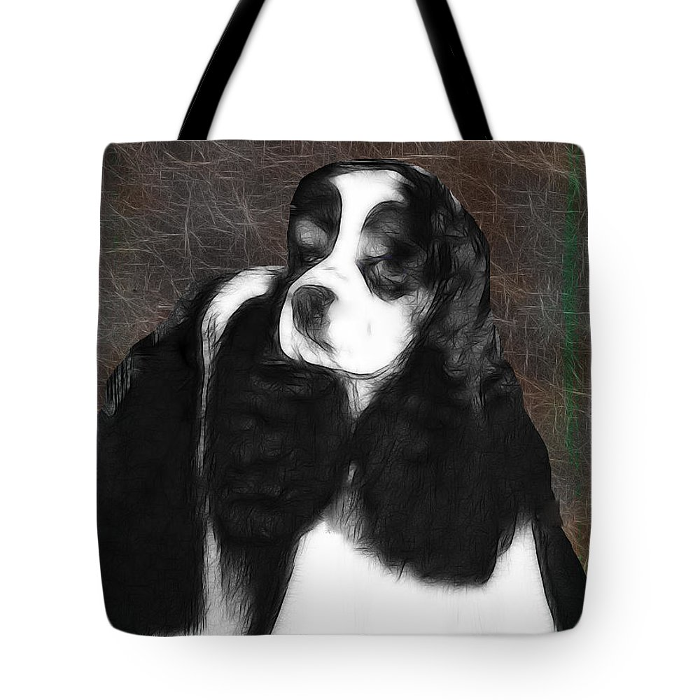 Dog Tote Bag featuring the photograph Black And White Cookie by Ericamaxine Price