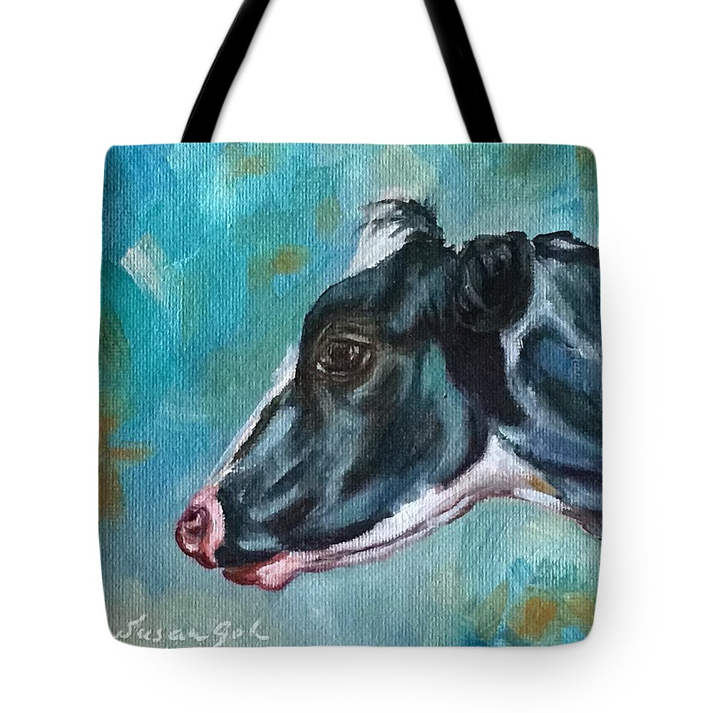 Black And White Cow  6 X 6 Oil Painting On Canvas Bonded On A 1.5 Depth Cradle Panel. Ready To Hang. Tote Bag featuring the painting Black And White Cow by Susan Goh