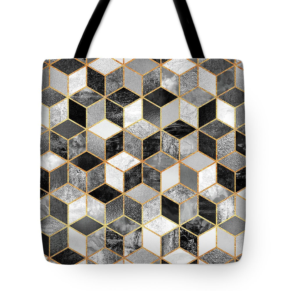 Graphic Design Tote Bag featuring the digital art Black and White Cubes by Elisabeth Fredriksson