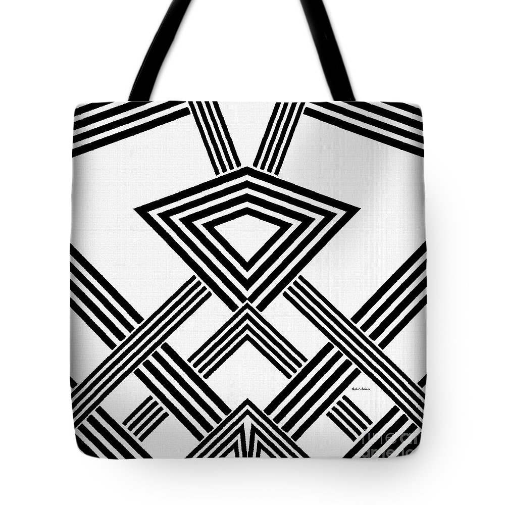 Rafael Salazar Tote Bag featuring the digital art Black And White Diamond by Rafael Salazar