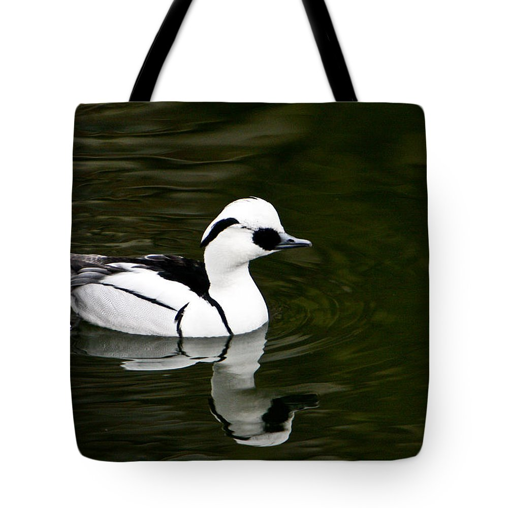Duck Tote Bag featuring the photograph Black And White Duck by Douglas Barnett