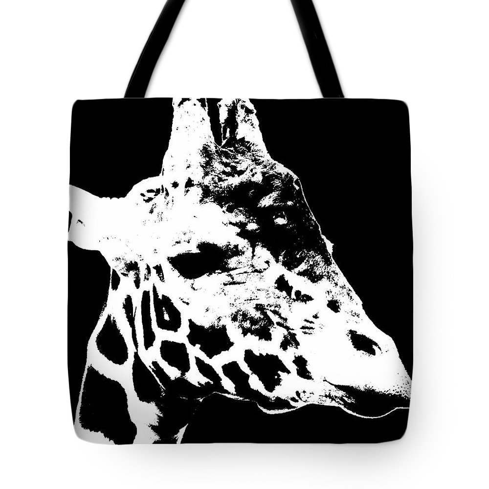 Black And White Tote Bag featuring the photograph Black And White Giraffe by Sergey Lukashin