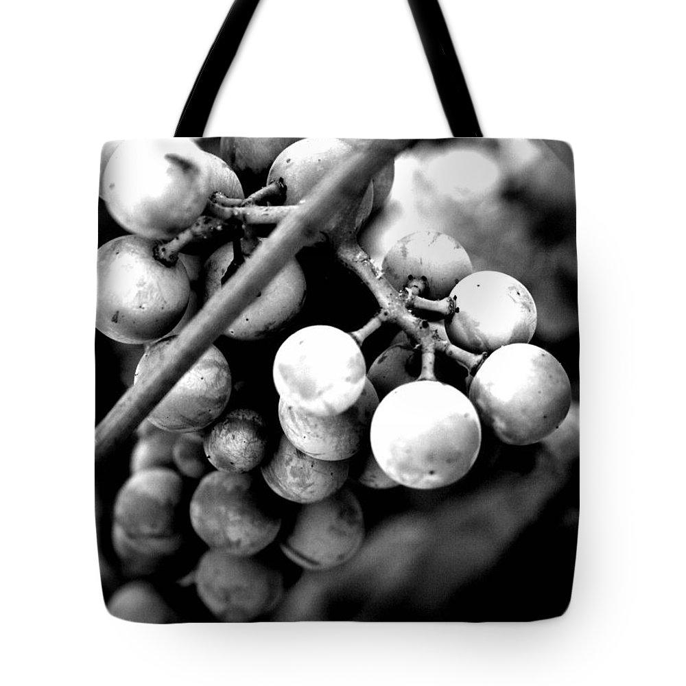 Grapes Tote Bag featuring the photograph Black And White Grapes by Sally Bauer