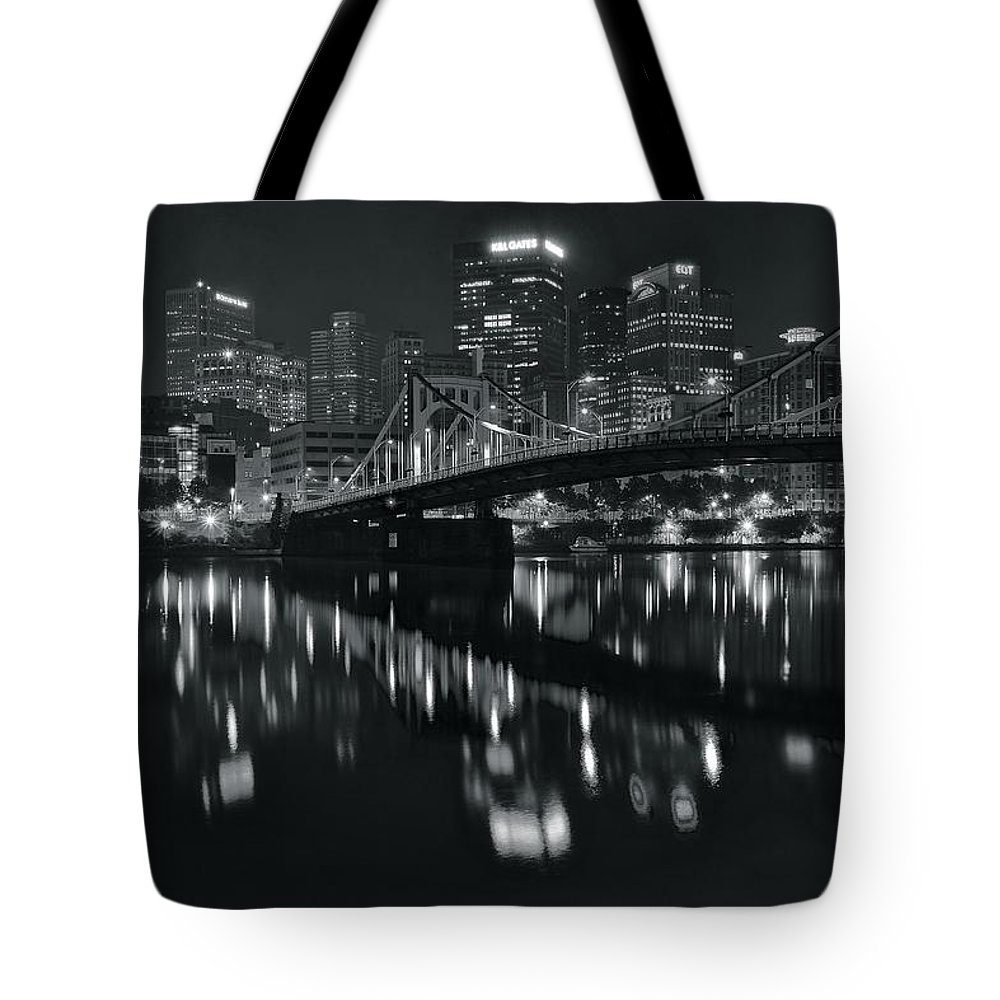 Pittsburgh Tote Bag featuring the photograph Black And White Lights by Frozen in Time Fine Art Photography