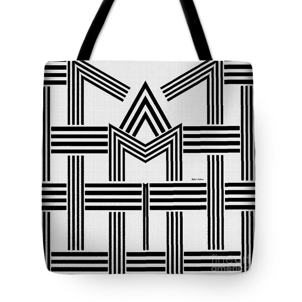 Rafael Salazar Tote Bag featuring the digital art Black And White M by Rafael Salazar