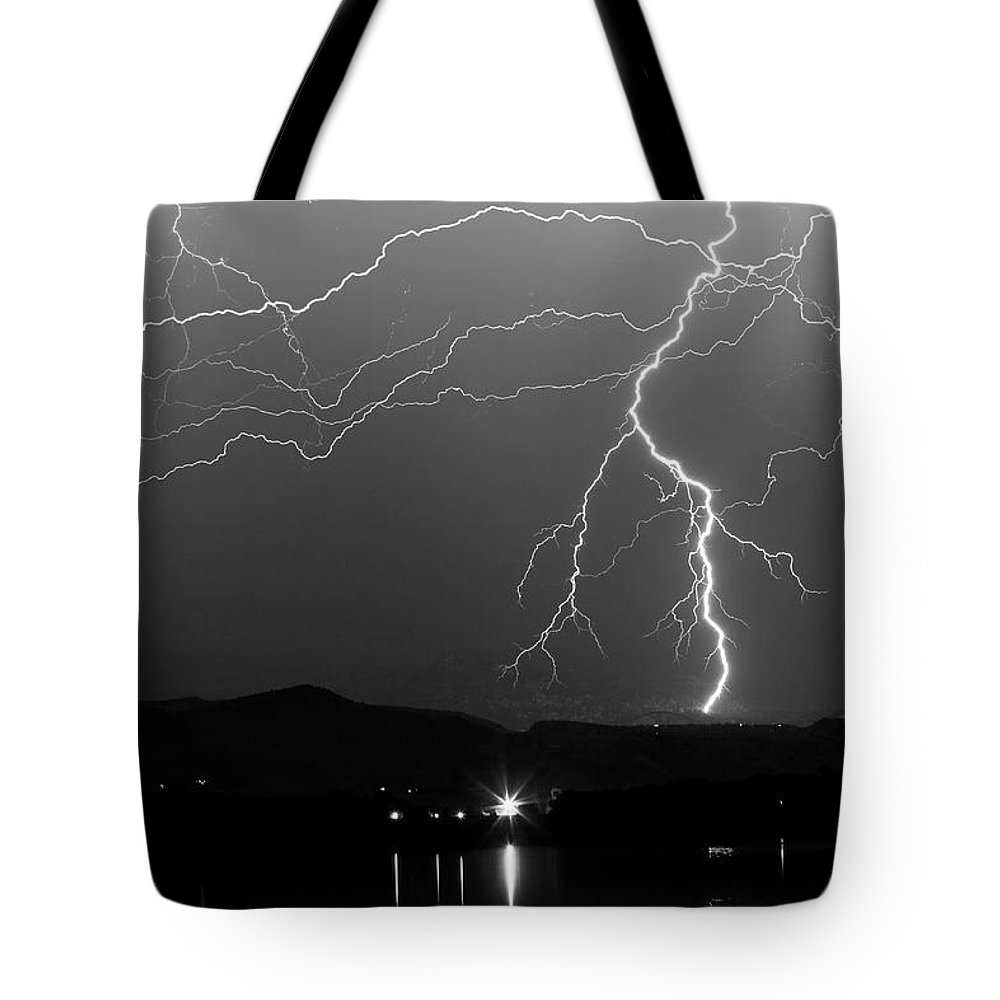 Lightning Tote Bag featuring the photograph Black And White Massive Lightning Strikes by James BO Insogna