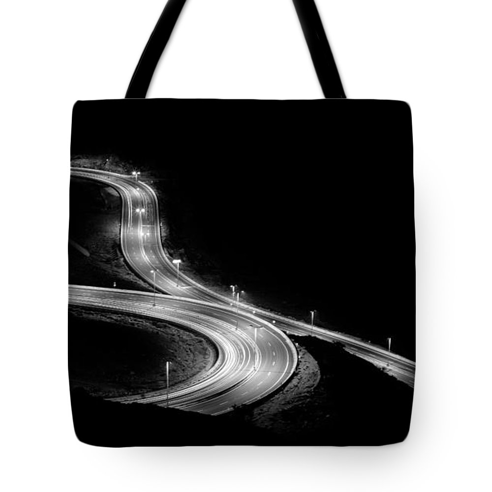 Black And White. Black Tote Bag featuring the photograph Black And White by Mohammed Alghamdi