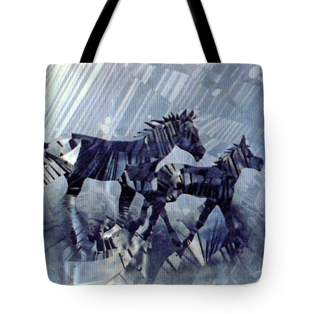Wildlife Tote Bag featuring the painting Black And White Nineteen Fifty Six by Rick Silas