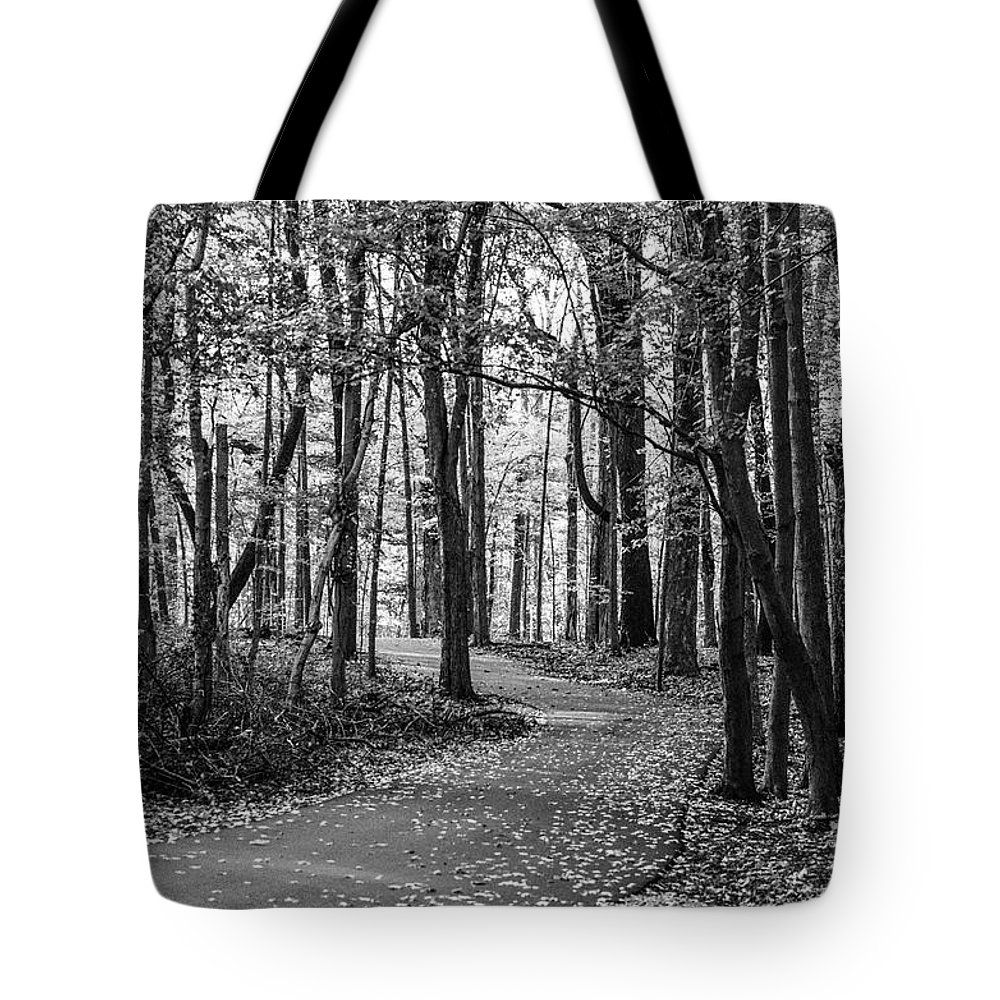 35mm Film Tote Bag featuring the photograph Black And White Path In Autumn by John McGraw