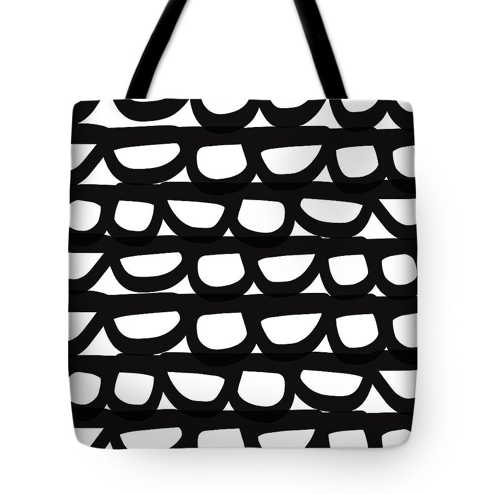 Modern Tote Bag featuring the mixed media Black And White Pebbles- Art By Linda Woods by Linda Woods