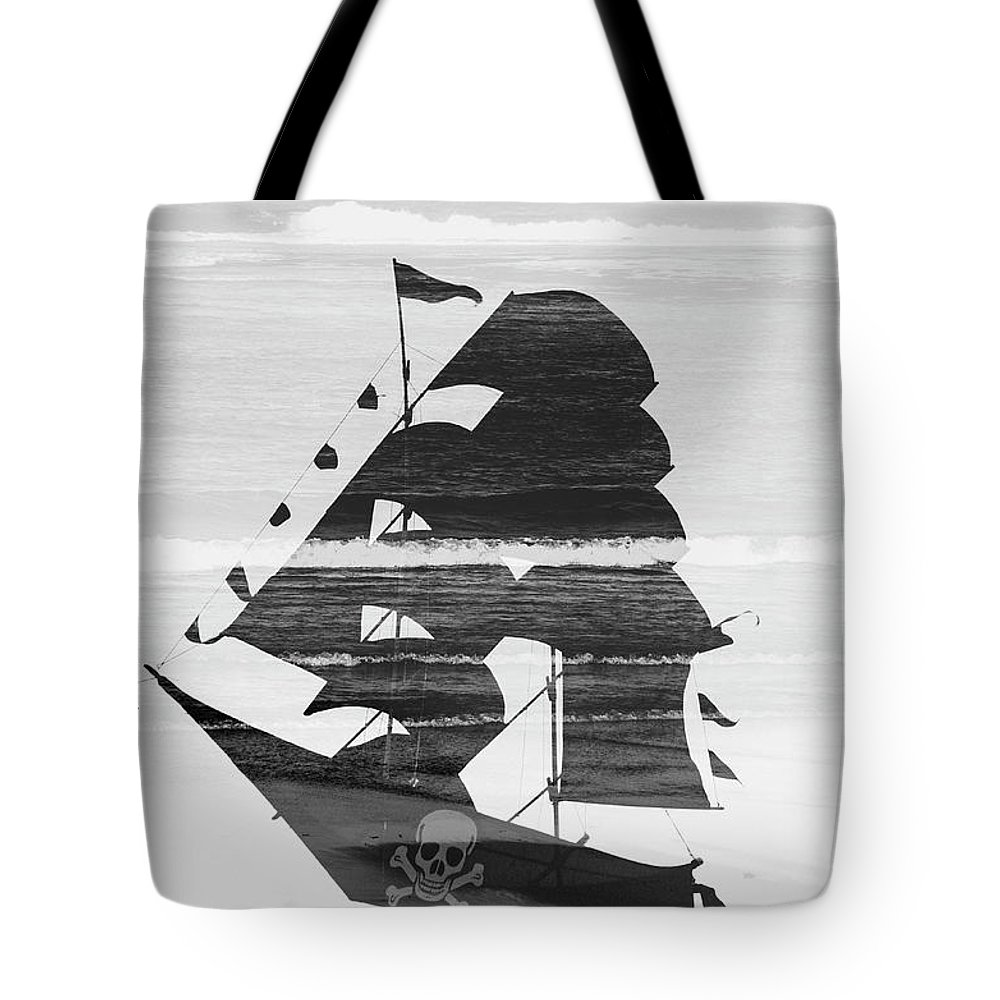 Abstract Tote Bag featuring the photograph Black And White Pirate Ship Against The Sea And Crushing Waves. Double Exposure by Srdjan Kirtic