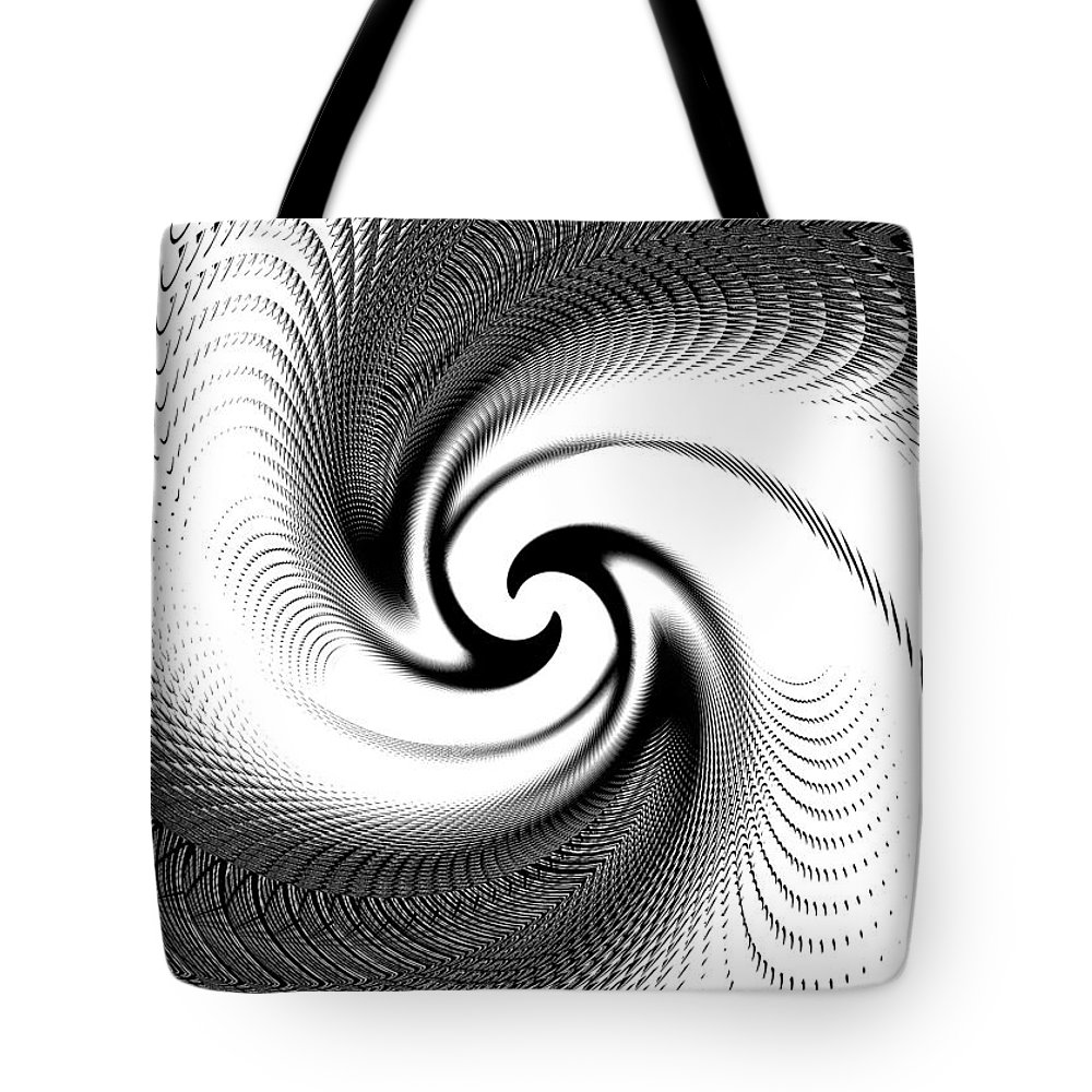 Spiral Tote Bag featuring the digital art Black And White Spiral by Melanie Mertens
