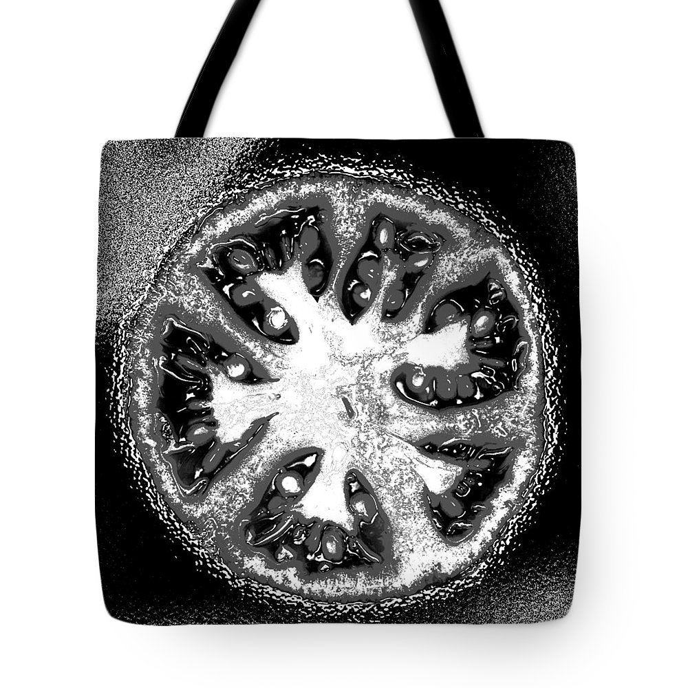 Tomato Tote Bag featuring the photograph Black And White Tomato by Nancy Mueller