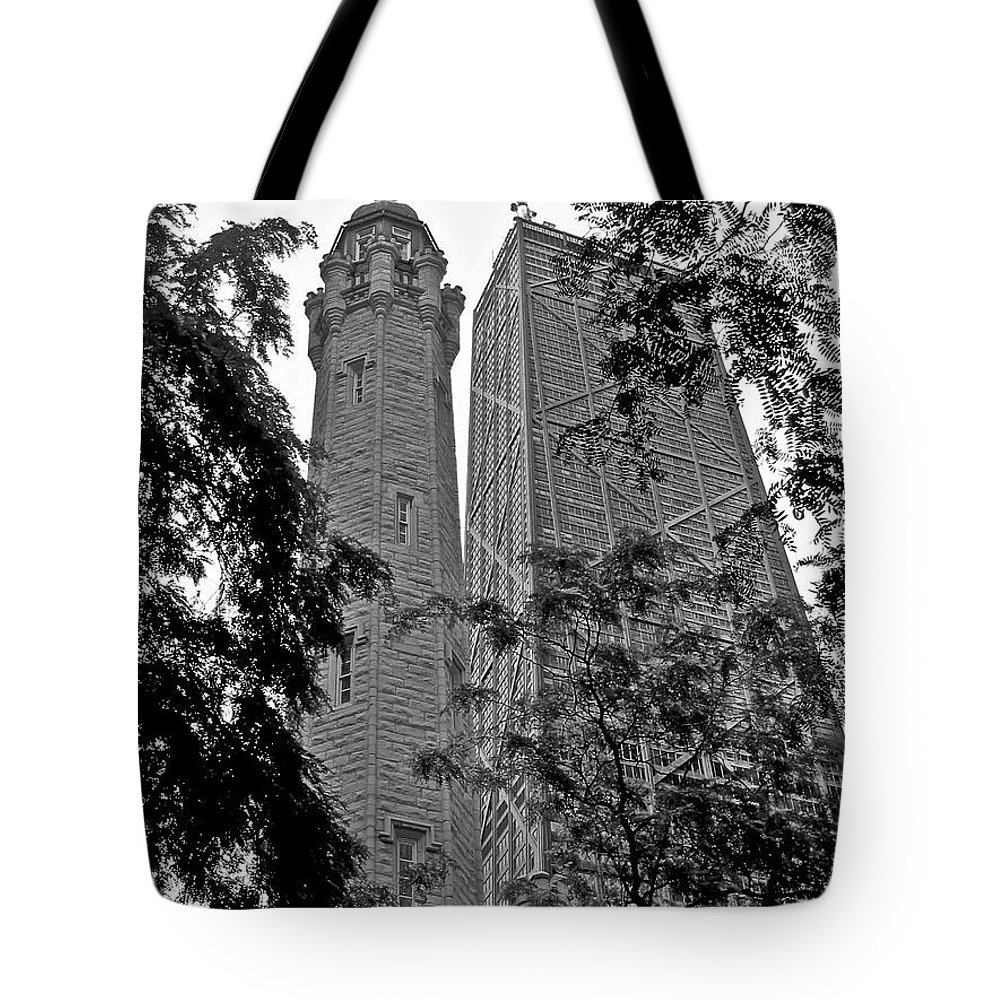 Architecture Tote Bag featuring the photograph black and white Water Tower by Dale Chapel